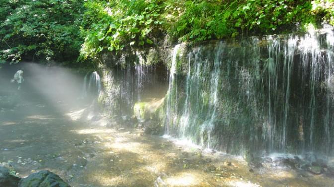 日差しで美しい白糸の滝