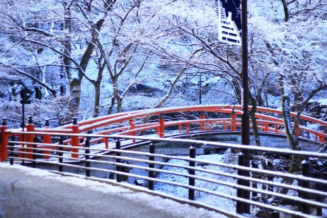 伊香保温泉街付近の赤い橋
